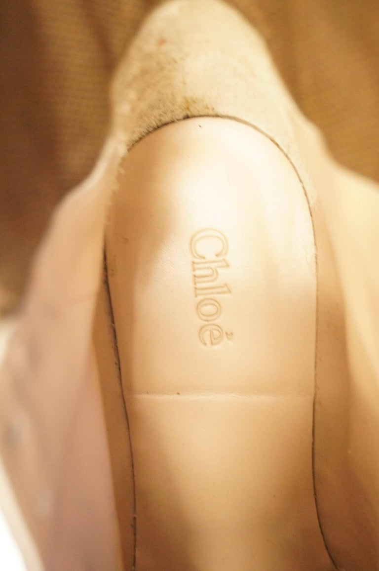 Chloé Blue and Brown Suede, Leather and Canvas Wedge Sneakers For Sale 2