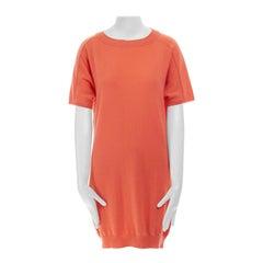 new CHLOE 100% cashmere peach orange dual collar short sleeve knit dress S