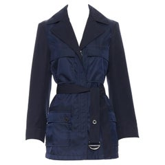 new CHLOE 2018 Iconic Navy contrast bodice safari pocket belted jacket FR34 XS