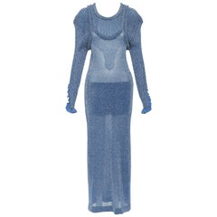 new CHLOE AW18 Runway blue lurex shimmer ribbed silk blend layered maxi dress S