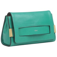 New Chloe Bag Soleil Green Leather Clutch