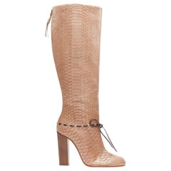 new CHLOE brown scaled python leather overstitch bow round toe tall boot EU40