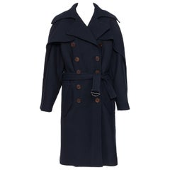 new CHLOE Iconic Navy wool ruffle front double brasted belted trench coat FR36