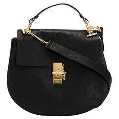 New Chloe Large Drew Faye Black Grained Napa Leather Shoulder bag