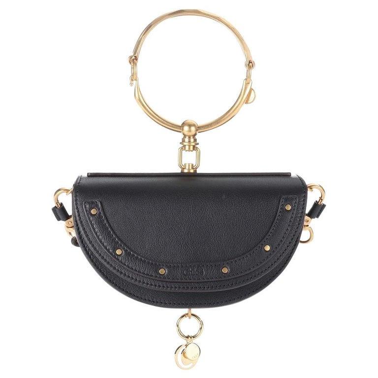 New Chloe Nile Minaudière Leather Crossbody Black Bag For Sale