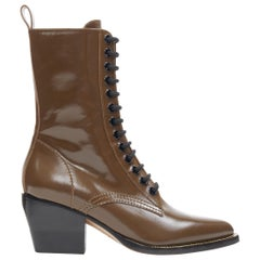 new CHLOE Runway Rylee army green leather block heel pointed toe boot EU36.5
