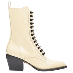 new CHLOE Runway Rylee beige leather lace up block heel pointed toe boot EU39