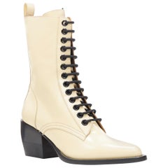 new CHLOE Runway Rylee beige leather lace up block heel pointed toe boot EU39.5