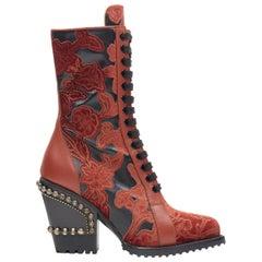 new CHLOE Runway Rylee black red floral embroidery studded heel devore boot EU39