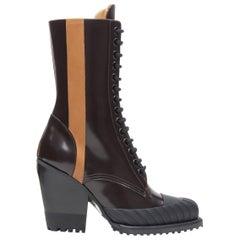 new CHLOE Runway Rylee brown glossy leather block heel heel rubber boot EU37.5