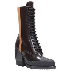 new CHLOE Runway Rylee brown glossy leather block heel heel rubber toe boot EU37