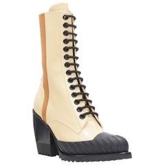 new CHLOE Runway Rylee cream brown leather block heel heel rubber toe boot EU38