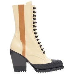 new CHLOE Runway Rylee cream brown leather block heel heel rubber toe boot EU41