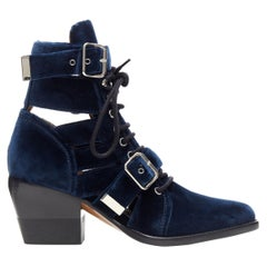 new CHLOE Rylee blue velvet buckle strap lace up cut out ankle boots EU37
