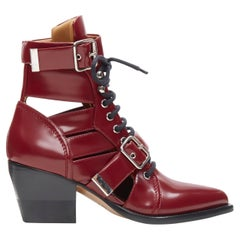 new CHLOE Rylee burgundy red leather cut out buckled pointy ankle boot EU38.5