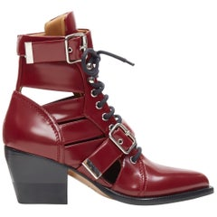 new CHLOE Rylee burgundy red leather cut out buckled pointy ankle boot EU40.5
