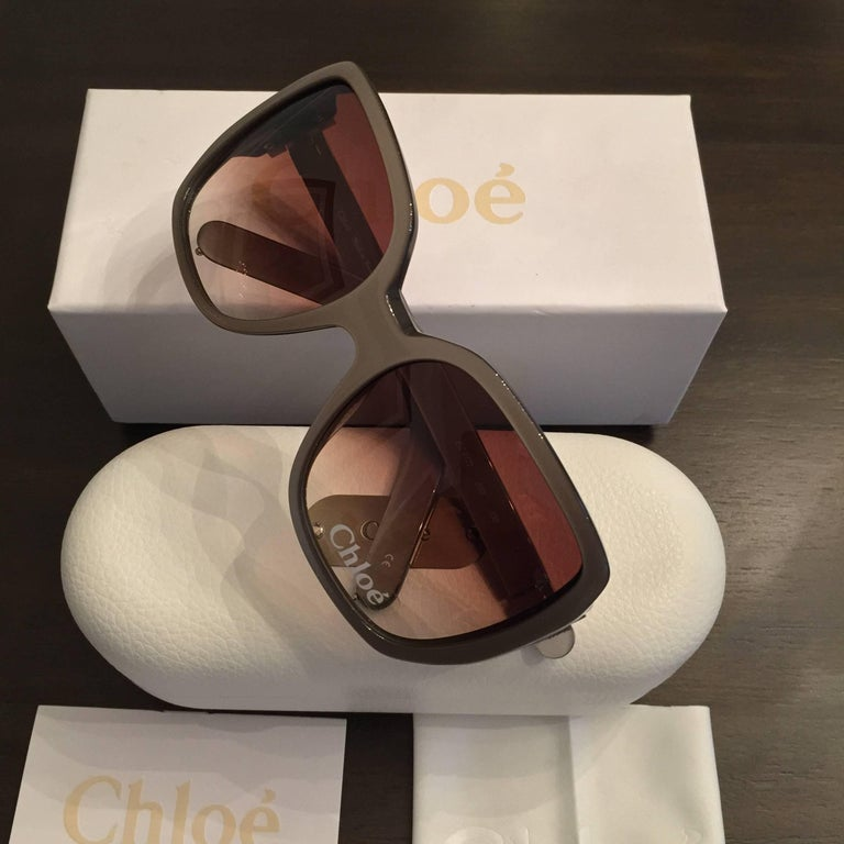 New Chloe Silver Beige Sunglasses With Case & Box For Sale 3