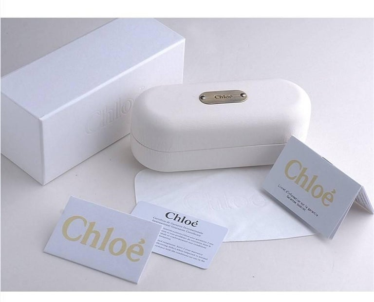 New Chloe Silver Beige Sunglasses With Case & Box For Sale 4