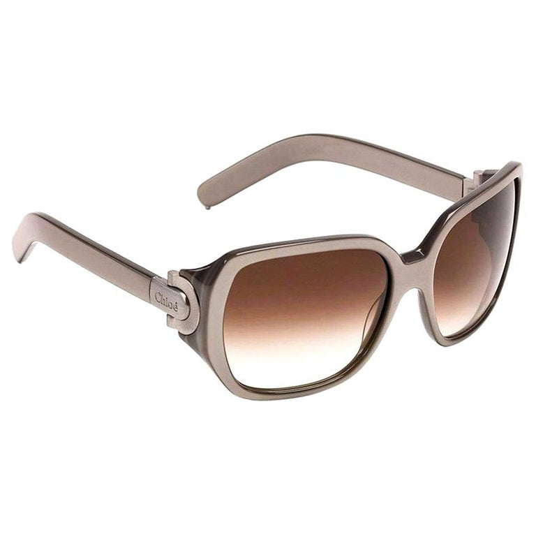 New Chloe Silver Beige Sunglasses With Case & Box For Sale