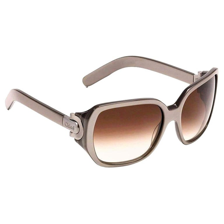 New Chloe Silver Beige Sunglasses With Case & Box