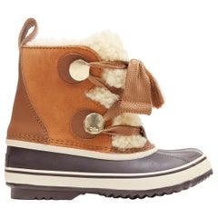 new CHLOE X SOREL tan brown suede calfksin shearling lined utilitarian boot EU37