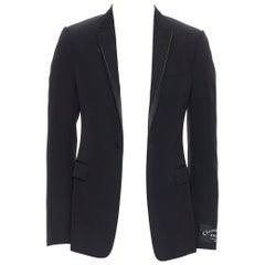 new CHRISTIAN DIOR ATELIER black wool gold stitch peak lapel tuxedo blazer FR46