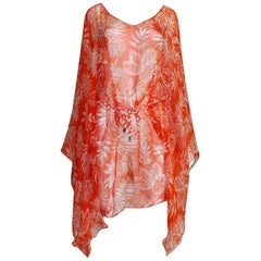 NEW Christian Dior Belted Chiffon Silk Printed Tunic Kaftan Dress
