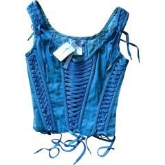 New Christian Dior by John Galliano S/S 2002 Denim Bustier Corset Top