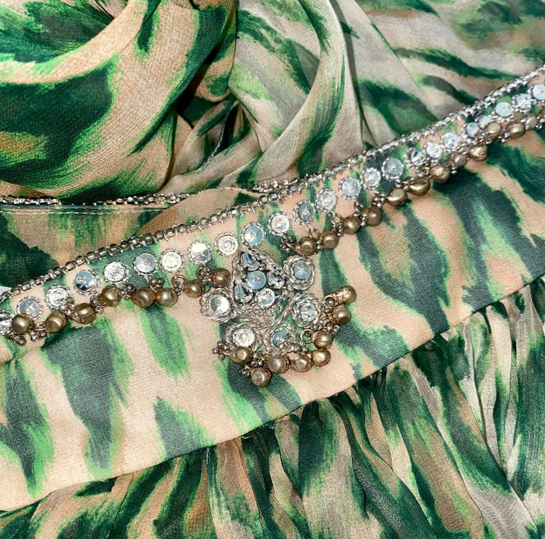 NEW Christian Dior Embellished One Shoulder Cheetah Signature Dress Gown In New Condition For Sale In Switzerland, CH