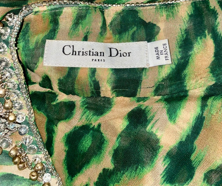 Women's NEW Christian Dior Embellished One Shoulder Cheetah Signature Dress Gown For Sale