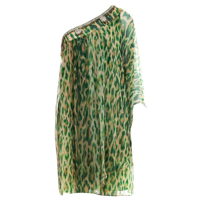 NEW Christian Dior Embellished One Shoulder Cheetah Signature Dress Gown For Sale