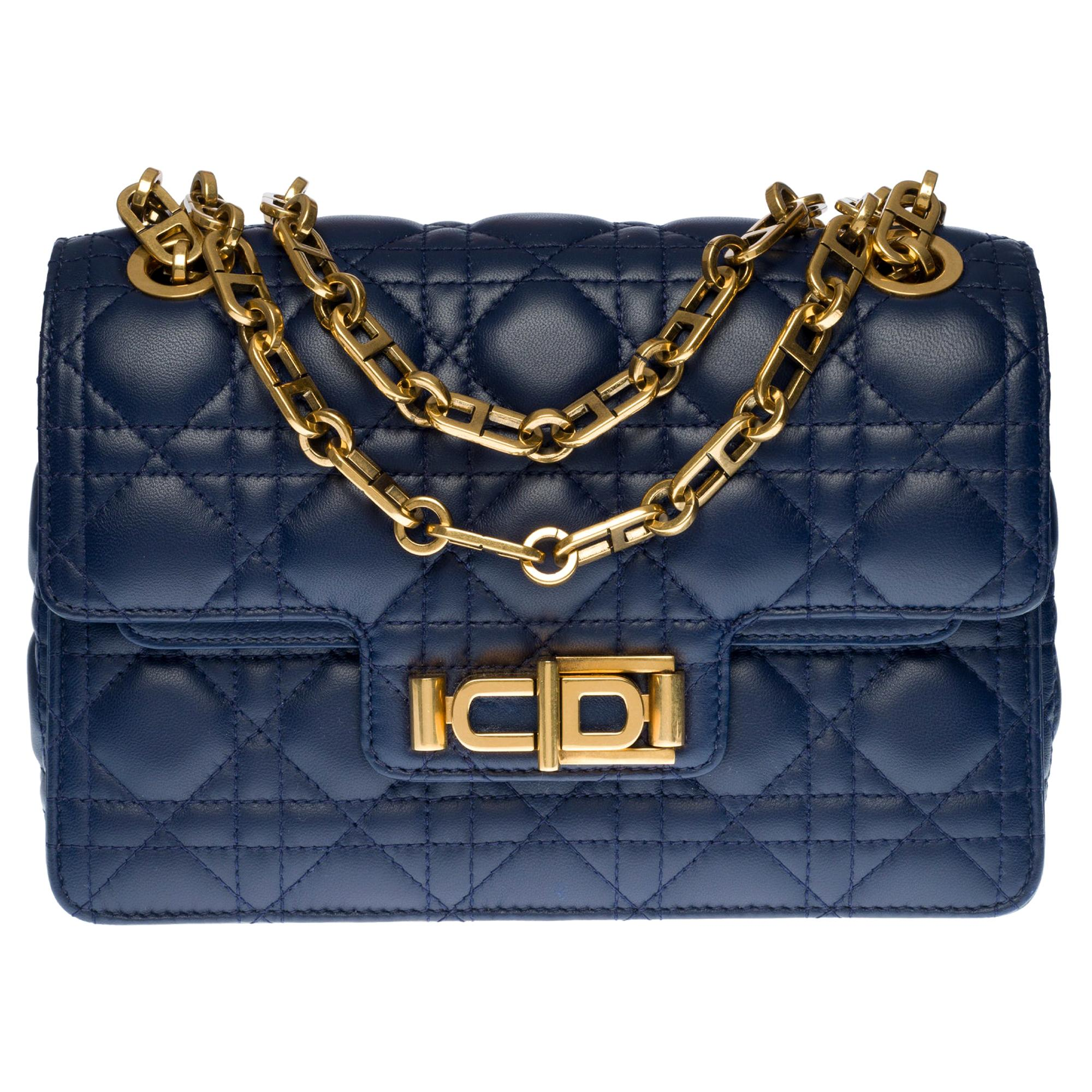 New /Christian Dior Miss Dior Shoulder bag in Navy Blue cannage leather, GHW