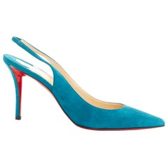 new CHRISTIAN LOUBOUTIN Apostrophy Sling blue suede pointy slingback heel EU39