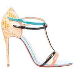 new CHRISTIAN LOUBOUTIN Arnold 100 patent T-strap scaled leather sandals EU37