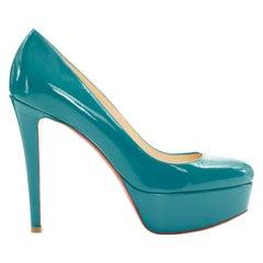 new CHRISTIAN LOUBOUTIN Bianca 140 teal blue patent almond platform pumps EU36.5