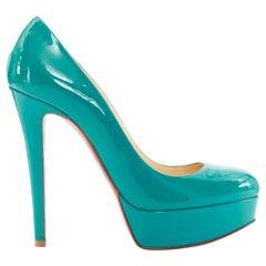 new CHRISTIAN LOUBOUTIN Bianca 140 teal blue patent patent round toe pump EU36.5