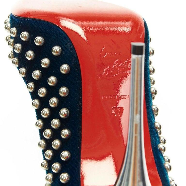 new CHRISTIAN LOUBOUTIN Billy 120 blue velvet silver stud pointy pump EU37 For Sale 7