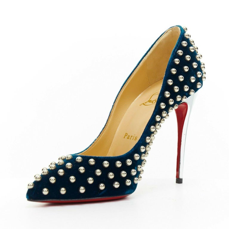 new CHRISTIAN LOUBOUTIN Billy 120 blue velvet silver stud pointy pump EU37 In Good Condition For Sale In Hong Kong, NT