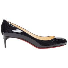 new CHRISTIAN LOUBOUTIN black patent round toe slim kitten heel work pump EU39