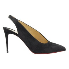 new CHRISTIAN LOUBOUTIN black suede point toe sling back mid heel pump EU37
