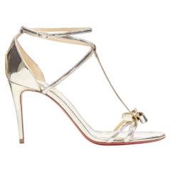 new CHRISTIAN LOUBOUTIN Blakissima metallic silver bow t-strap sandals EU37.5