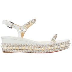 new CHRISTIAN LOUBOUTIN Cataclou embroidery studded espadrille sandals EU40