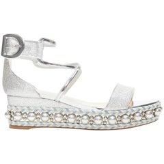 new CHRISTIAN LOUBOUTIN Chocazeppa 60 silver lurex studded platform sandals EU37