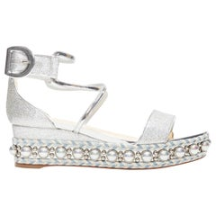 new CHRISTIAN LOUBOUTIN Chocazeppa 60 silver lurex studded platform sandals EU38