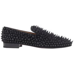 new CHRISTIAN LOUBOUTIN Dandy Pik Pik Flat black velvet tonal spike loafer EU42