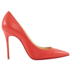 new CHRISTIAN LOUBOUTIN Decollete 100 red leather stiletto pigalle heel EU36