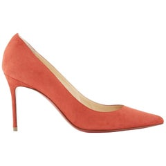 new CHRISTIAN LOUBOUTIN Decollete 85 red suede point pigalle pump heel EU36.5