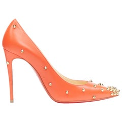 new CHRISTIAN LOUBOUTIN Degraspike 100 red leather gold stud point  pump EU36.5