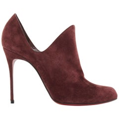 new CHRISTIAN LOUBOUTIN Dugueclina 100 burgundy suede dip stiletto bootie EU40