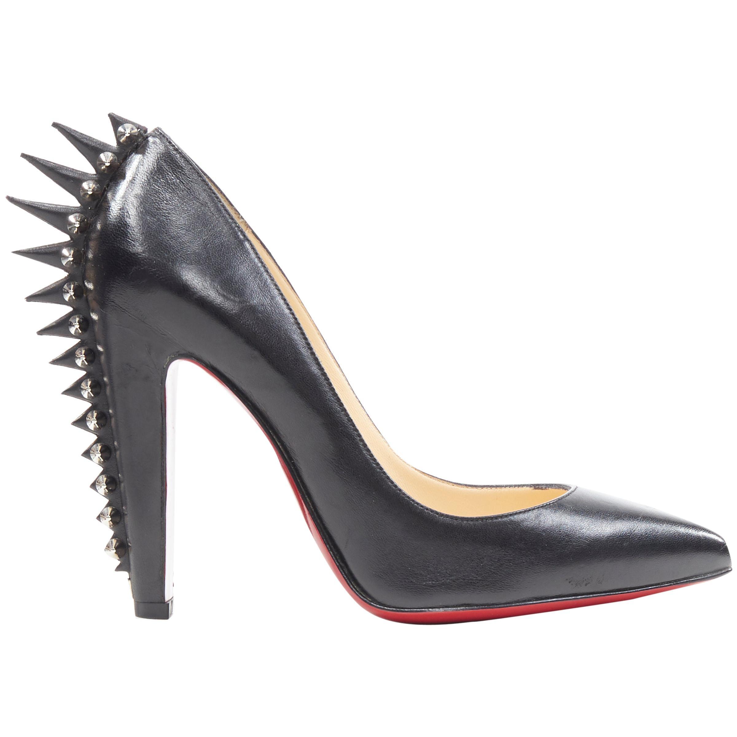 new CHRISTIAN LOUBOUTIN Eletcropump black spike stud mohawk heel pump EU36